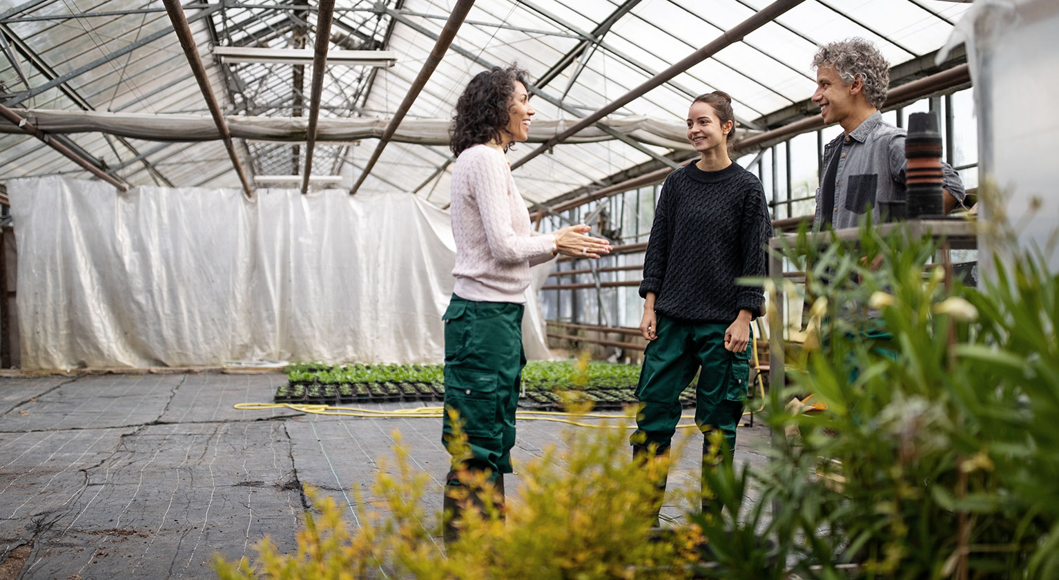 3 people talking in a garden nursery